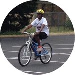 Candace riding a bike for the first time at 37 years of age