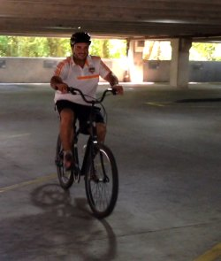 Paulo's first time riding a bike