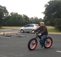 Randy riding his fat bike during his cycling skills training