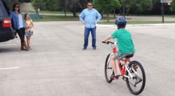 Ryan riding toward his Dad for the first time