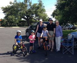 Sebastian's family all came out to watch him take his cycling lessons