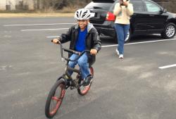 Xavier mastering his BMX bike