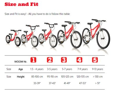 Woom bicycles -- sizing chart